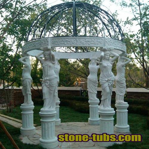 Natural Stone Pergola Over Patio
