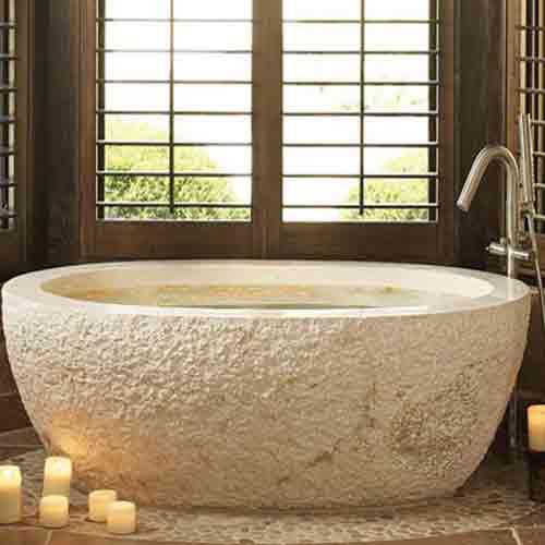 Bushhammer Carved Stone Bathtub Creamy Color Marble Bathtub