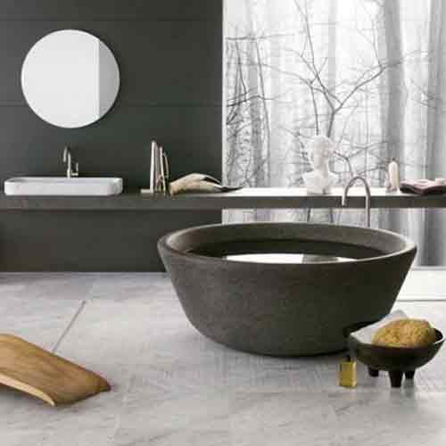 Black Stone Bath : stone tubs/stone tub Porject/Modern Minimal Bathroom Tubs
