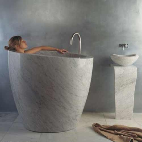 Small Marble Soaking Tubs For Tiny Bathroom